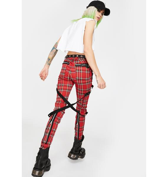 Tripp NYC Red Plaid Chaos Pants