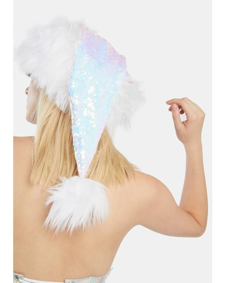 White Sequin Santa Hat