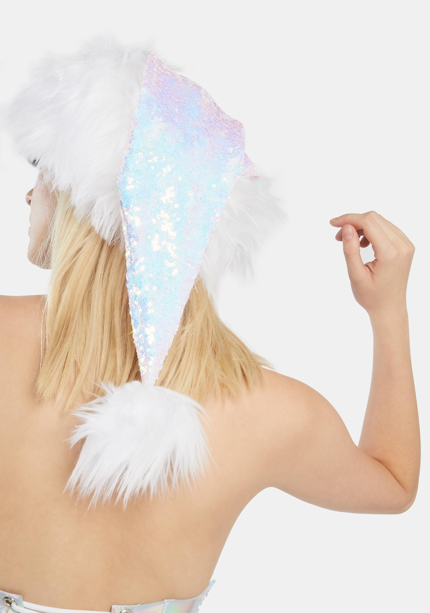J Valentine White Sequin Santa Hat