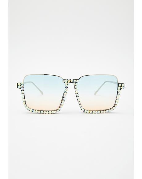 Sky Rude Clarity Rhinestone Sunglasses