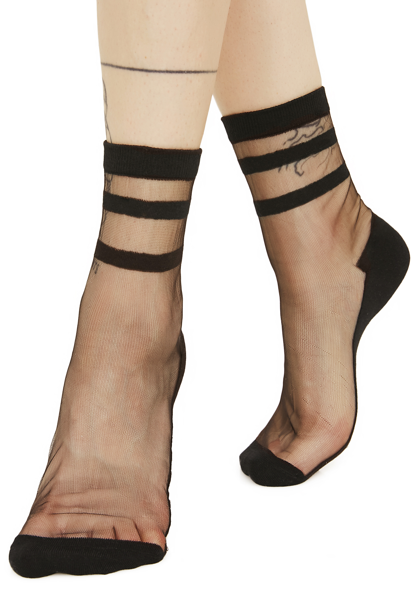 Black Sheer Athletic Stripe Ankle Socks