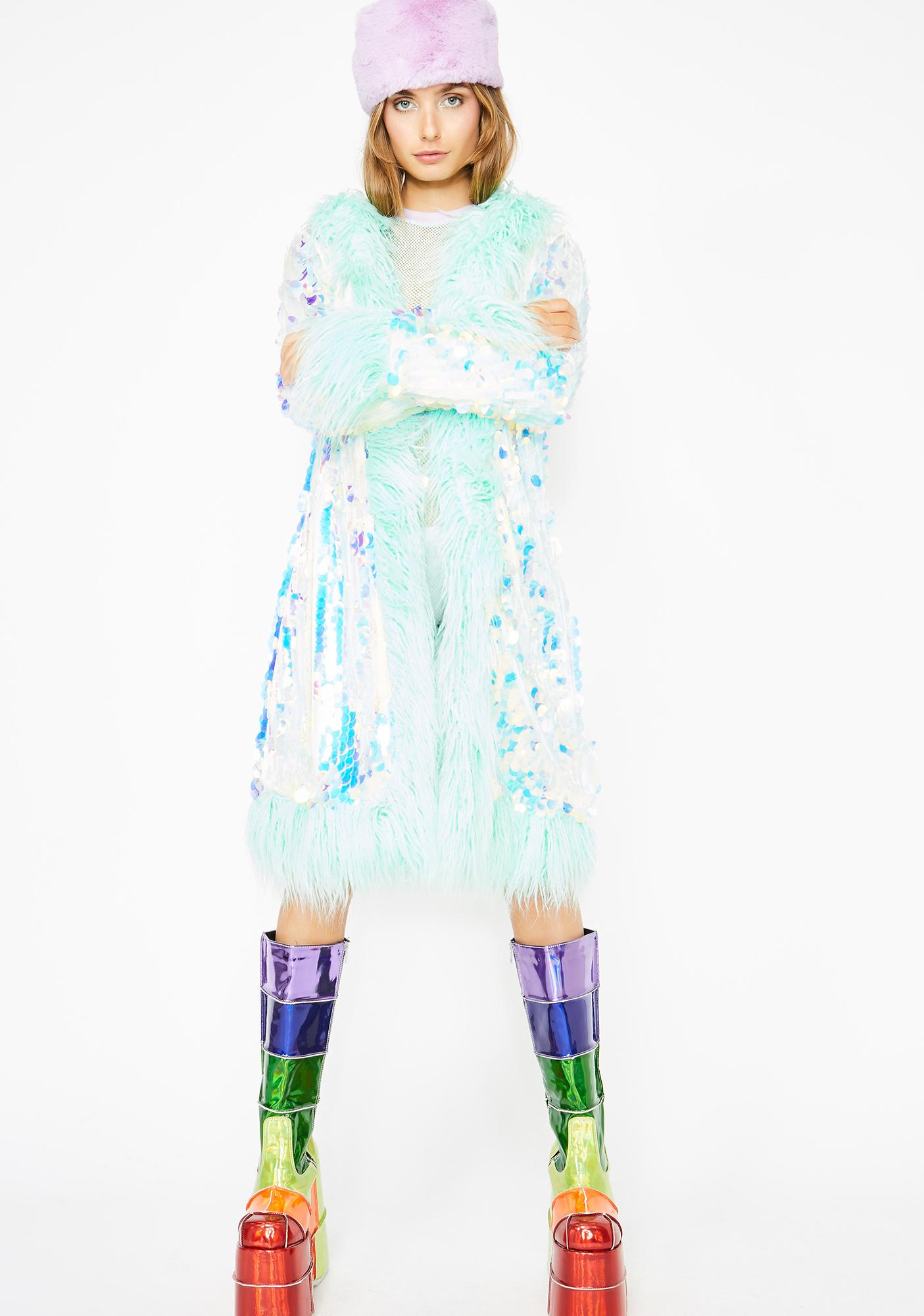 Club Exx Galactic Glamgasm Sequin Coat