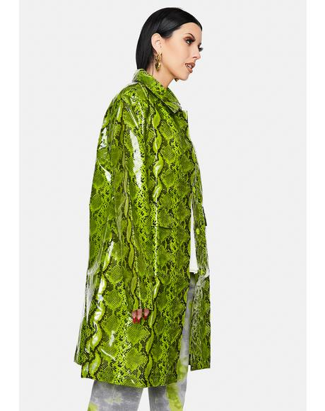 Neon Lime Maya Snakeskin Trench Coat