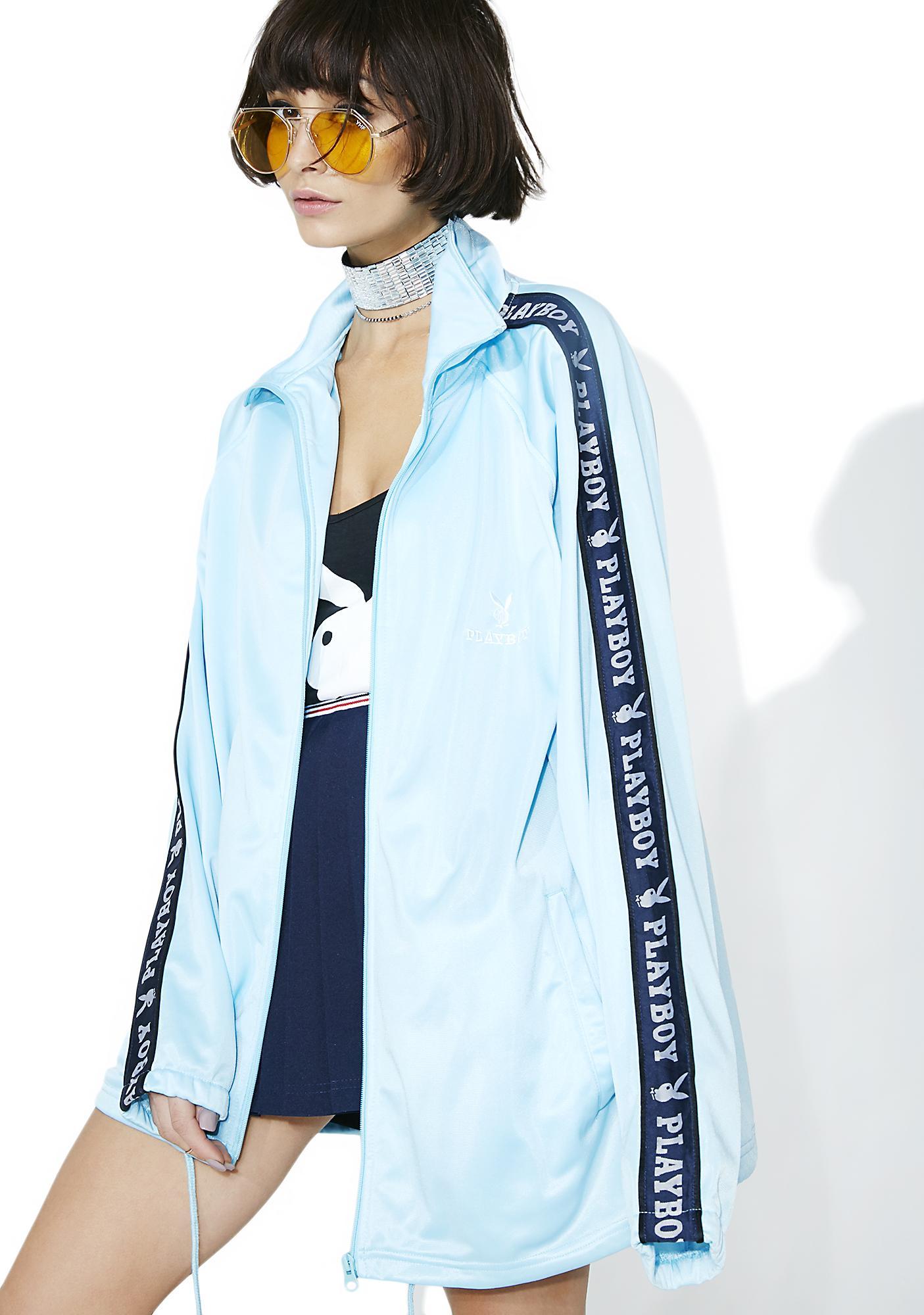 Vintage Baby Blue Playboy Track Jacket