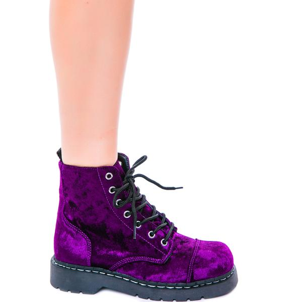 T.U.K. Crushed Velvet 7 Eye Boot