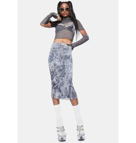 BADEE Black Denim Mesh Low Rise Midi Skirt