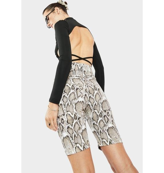 AFRM Call On Snakeskin Print Shorts