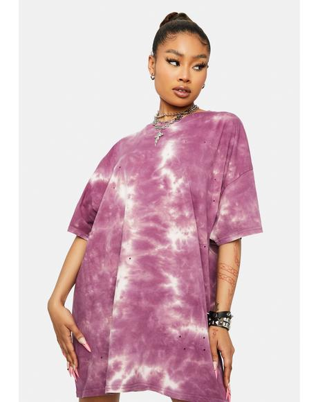 Trippin' Territory Tie Dye Distressed Oversized T- Shirt