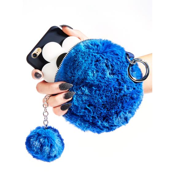 Totally Blue Faux Fur Pouch