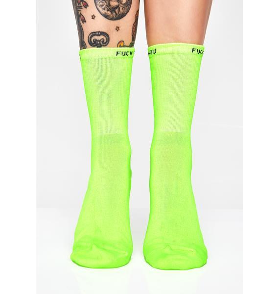 Electric Rude Mood Neon Socks
