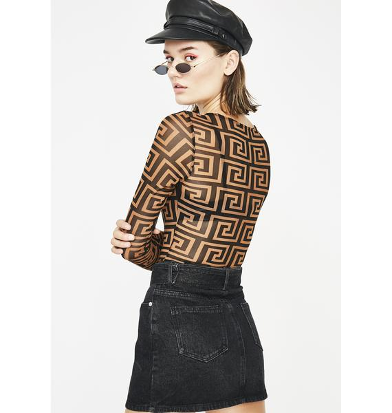 Fauxsace Sheer Bodysuit