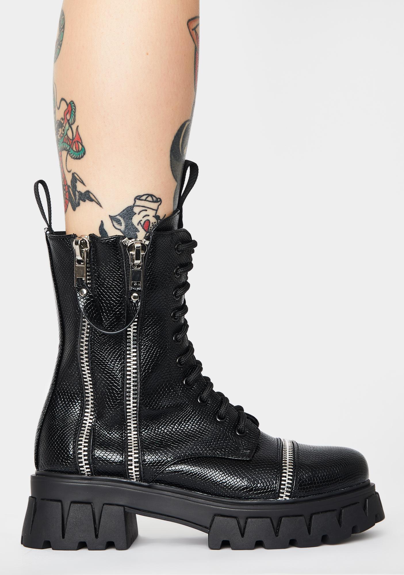 Koi Footwear Kronos Snakeskin Combat Boots