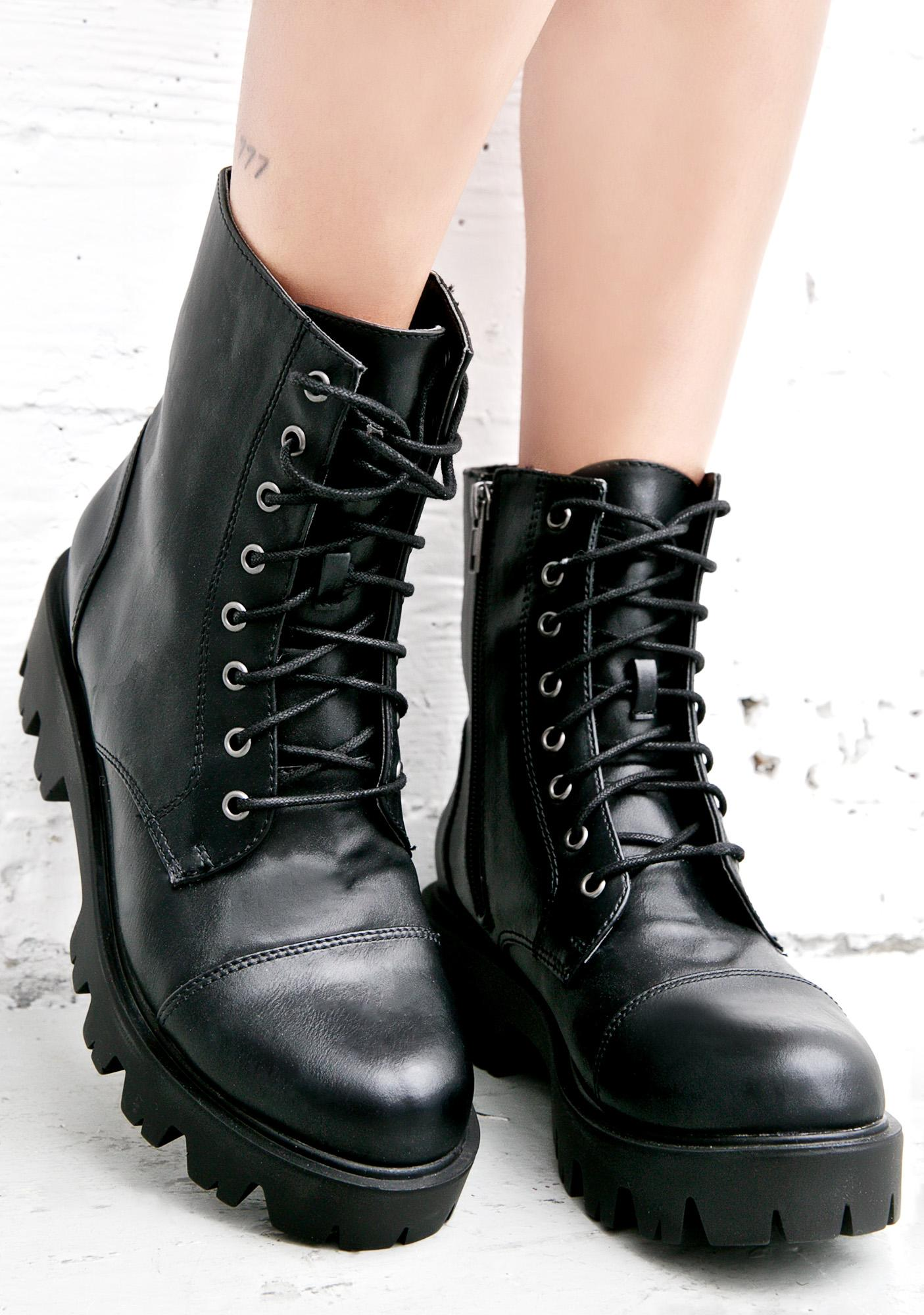 faux leather lace up biker boots dolls kill. Black Bedroom Furniture Sets. Home Design Ideas