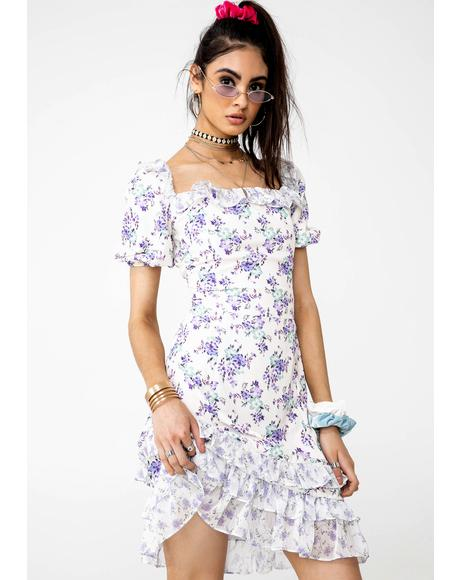 Mixed Bloom Frill Dress