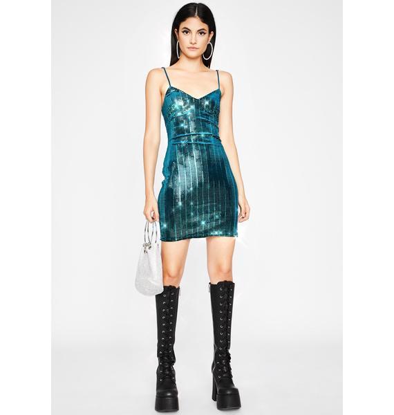 Teal Liquid Beats Sequin Dress