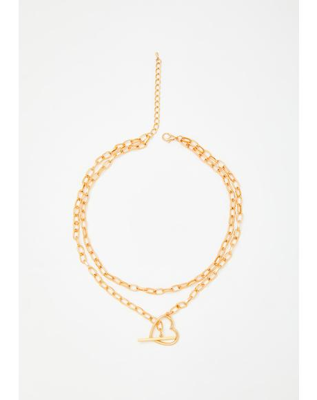 Golden Steal My Heart Toggle Necklace