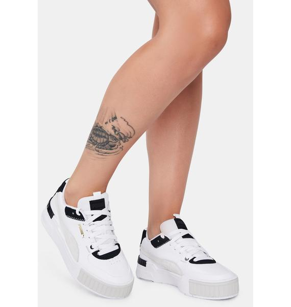 PUMA White & Black Cali Sport Sneakers