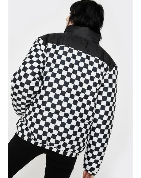 Checkerboard Puffer Jacket