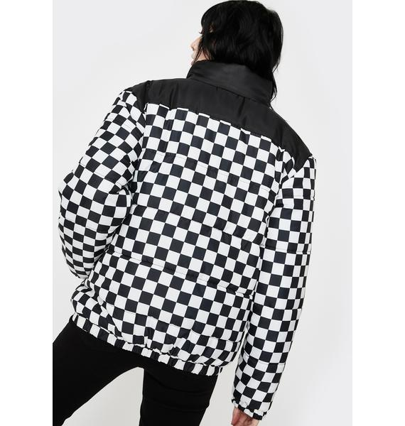 Daisy Street Checkerboard Puffer Jacket
