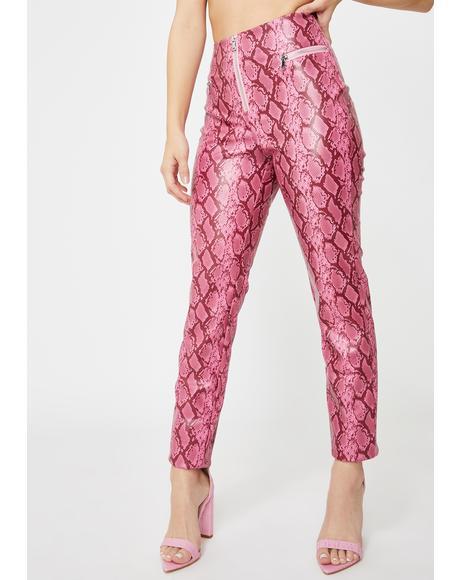 Pink Pearl Snakeskin Pants