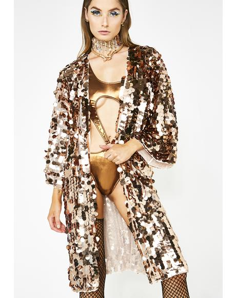 Bronze Glimmer Goddess Sequin Kimono