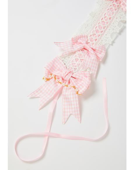 Pretty Party Gingham Lace Pearl Headband