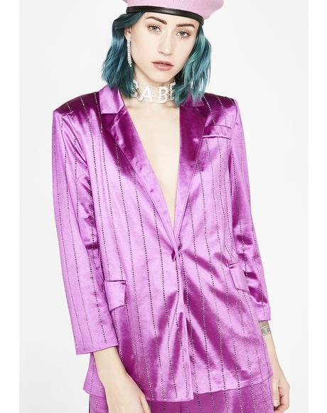 Rhinestone Pinstripe Suit Jacket