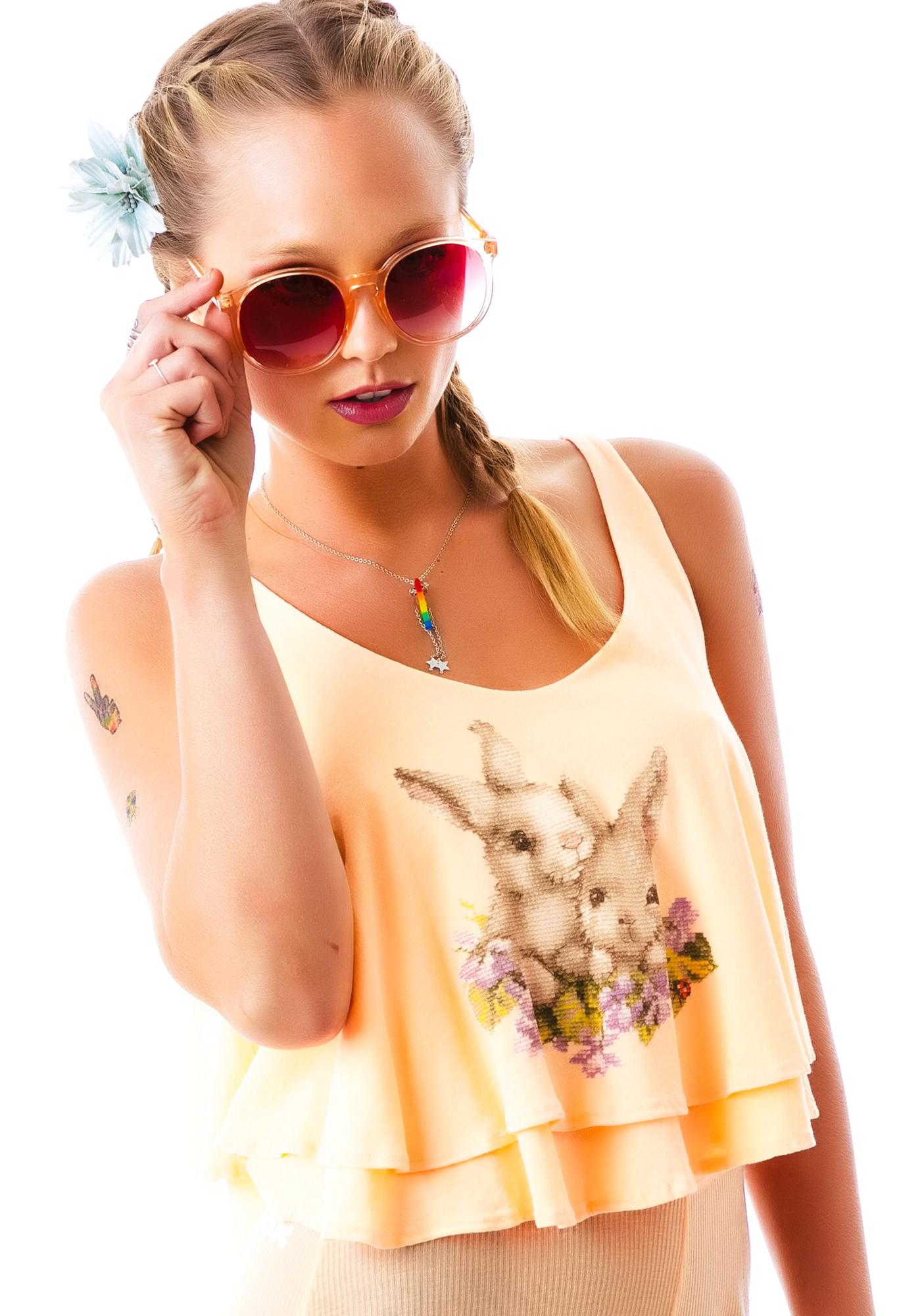 Wildfox Couture Bunny Cross Stitch Cotton Jersey Little Petal Tank