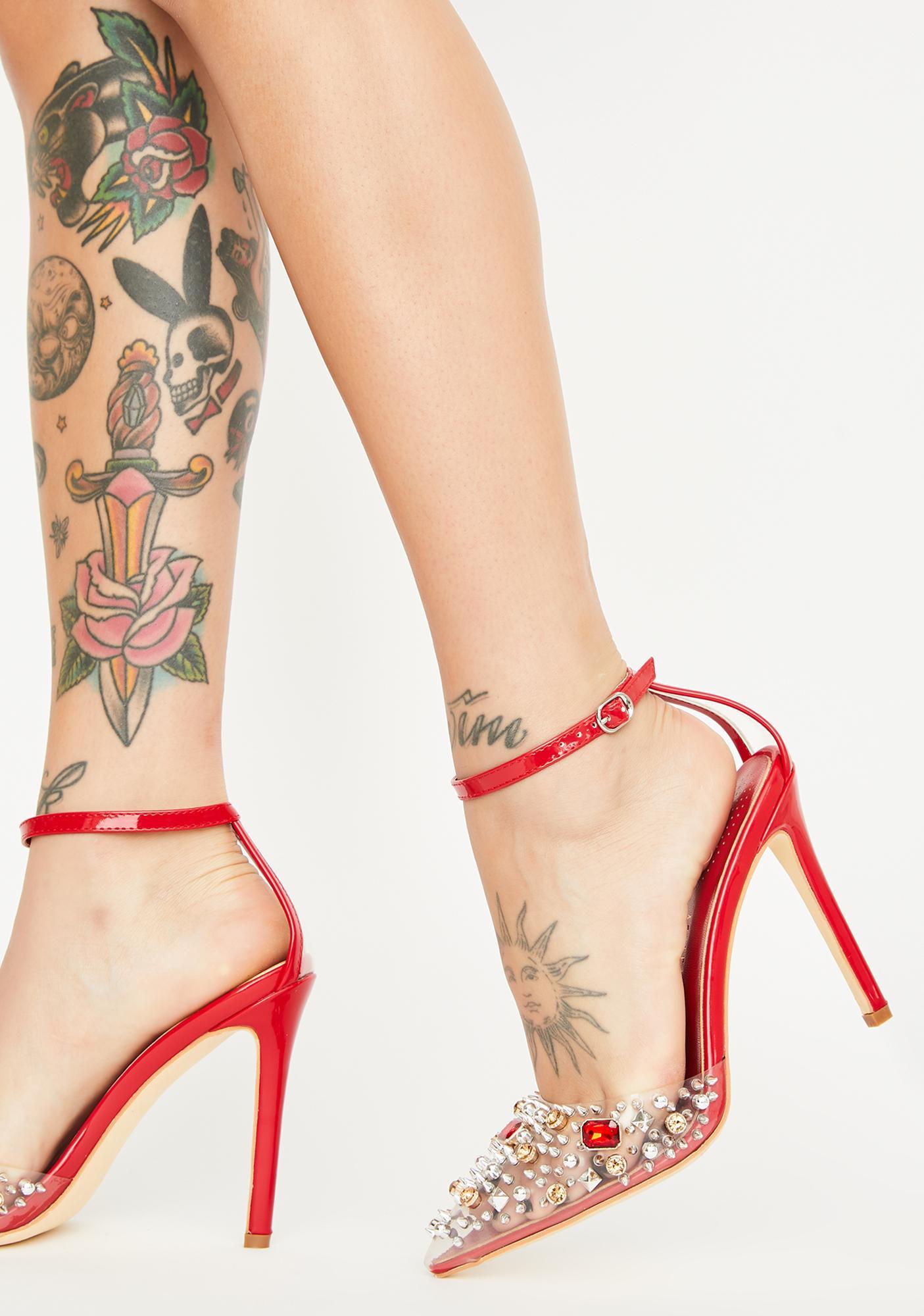 AZALEA WANG Red Popstar Jeweled Heels