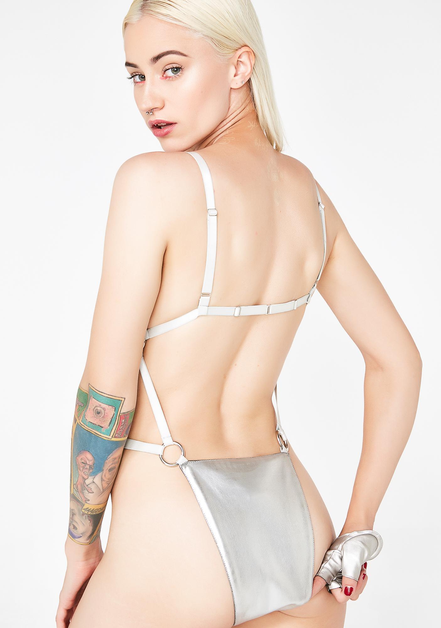 Club Exx Chrome Hardcore Strappy Bodysuit