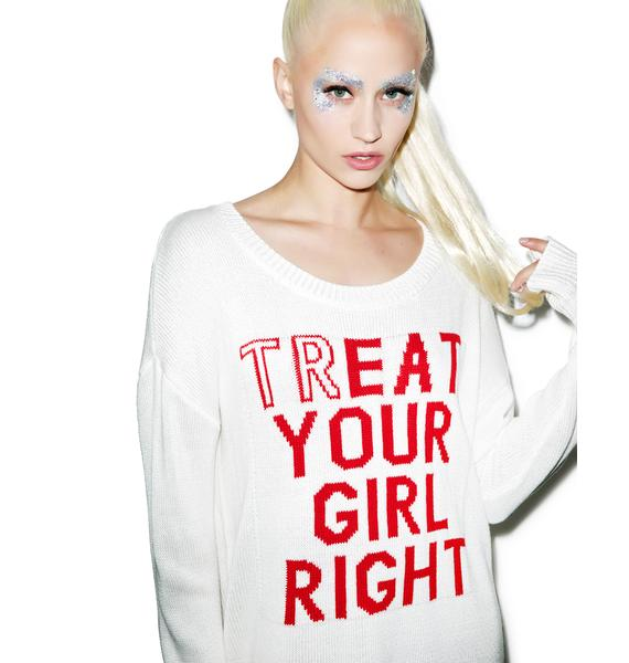 Dimepiece Treat Your Girl Right Knit Sweater