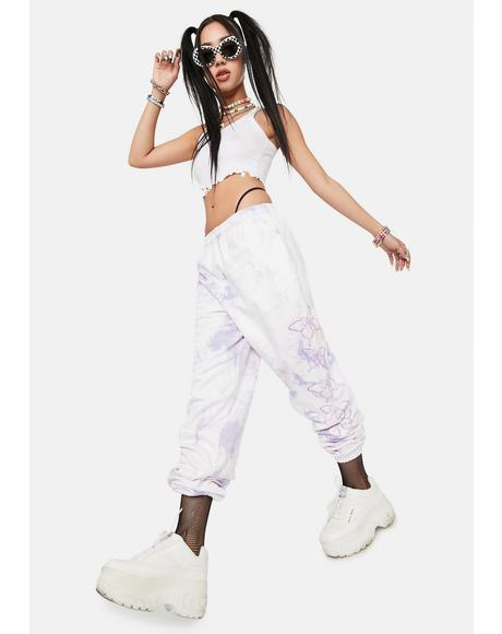 Violet Butterfly Tie Dye Sweatpants