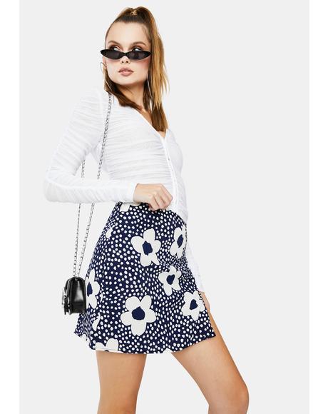 Navy Floral Mini Skirt