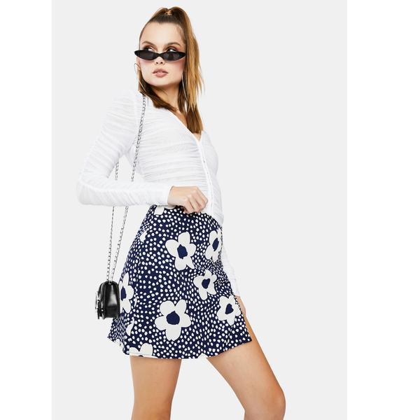 Bailey Rose Navy Floral Mini Skirt