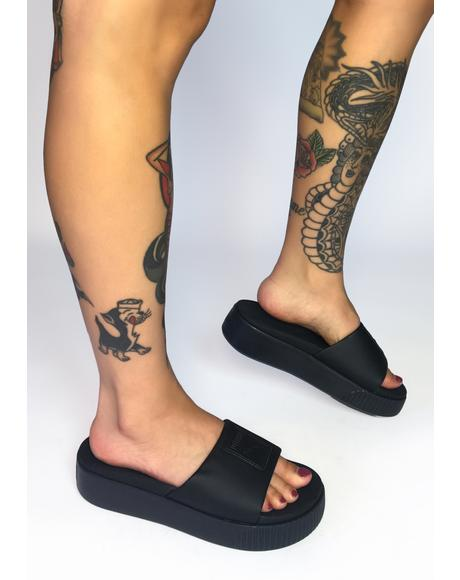 Black Platform Slide Sandals