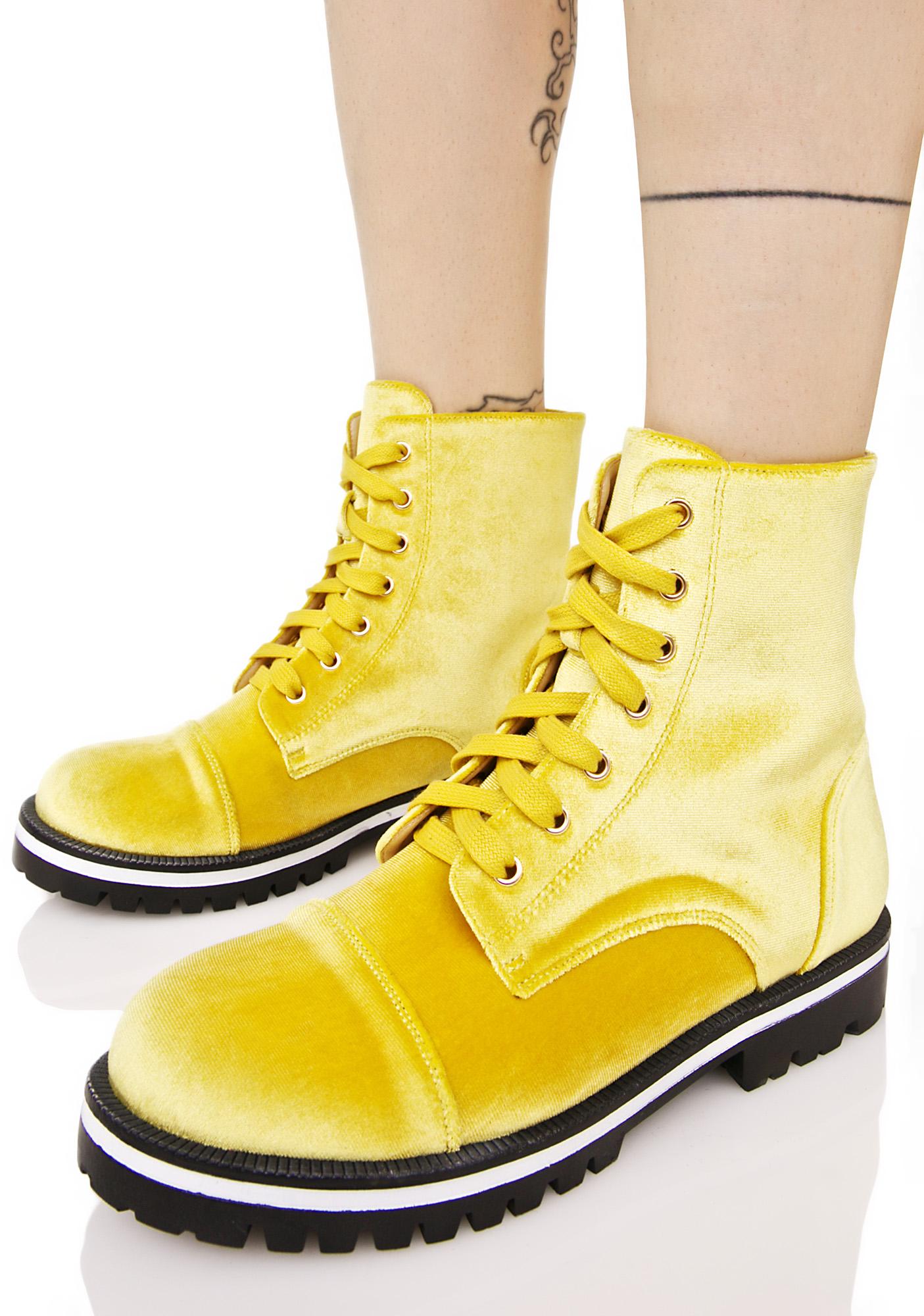 Gold Velvet Combat Boots