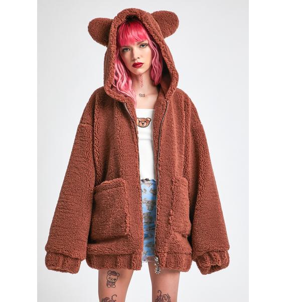dELiA*s by Dolls Kill Bear In Mind Fuzzy Jacket