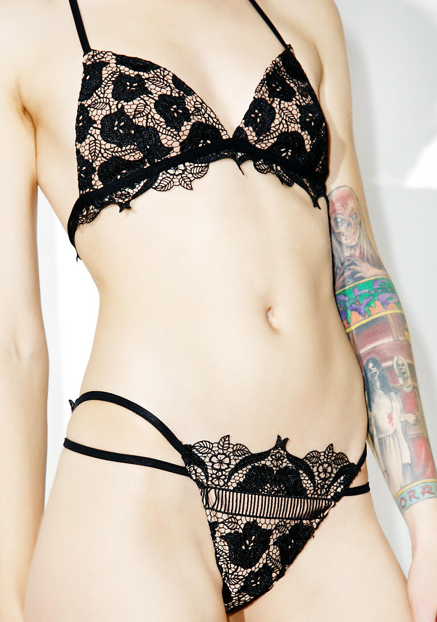 For Love & Lemons Corsica Lace Strappy Bikini Bottoms