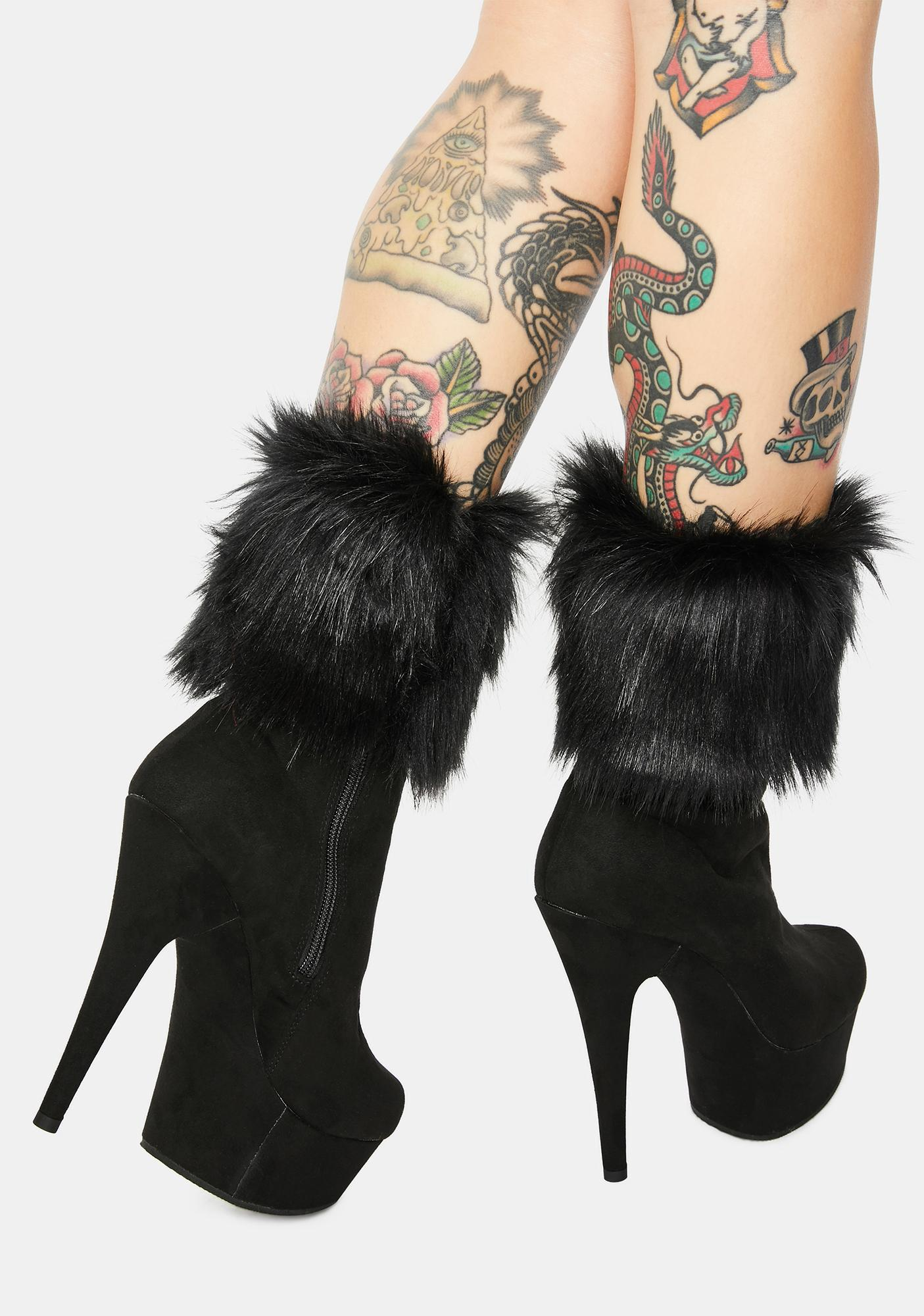 Pleaser Never The Same Faux Fur Cuff Booties