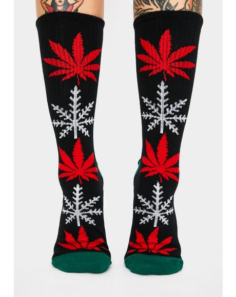 Black Glow-Flake Plantlife Socks