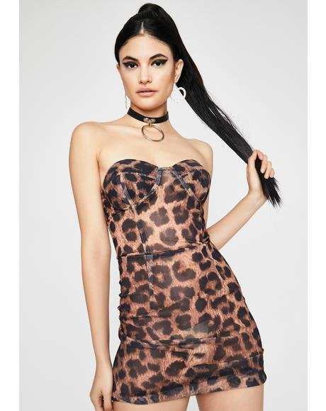Caught Cheetin' Strapless Dress