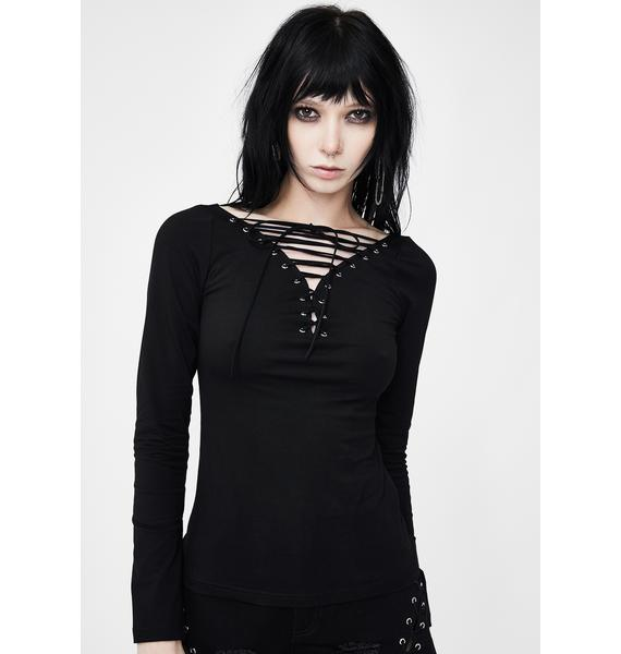 Punk Rave Tight Punk Lace Up Top