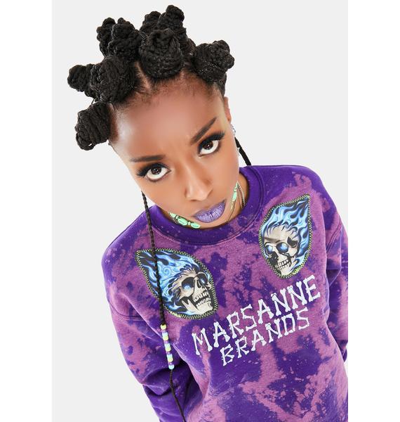 Marsanne Brands Purp Skull Crew Sweatshirt
