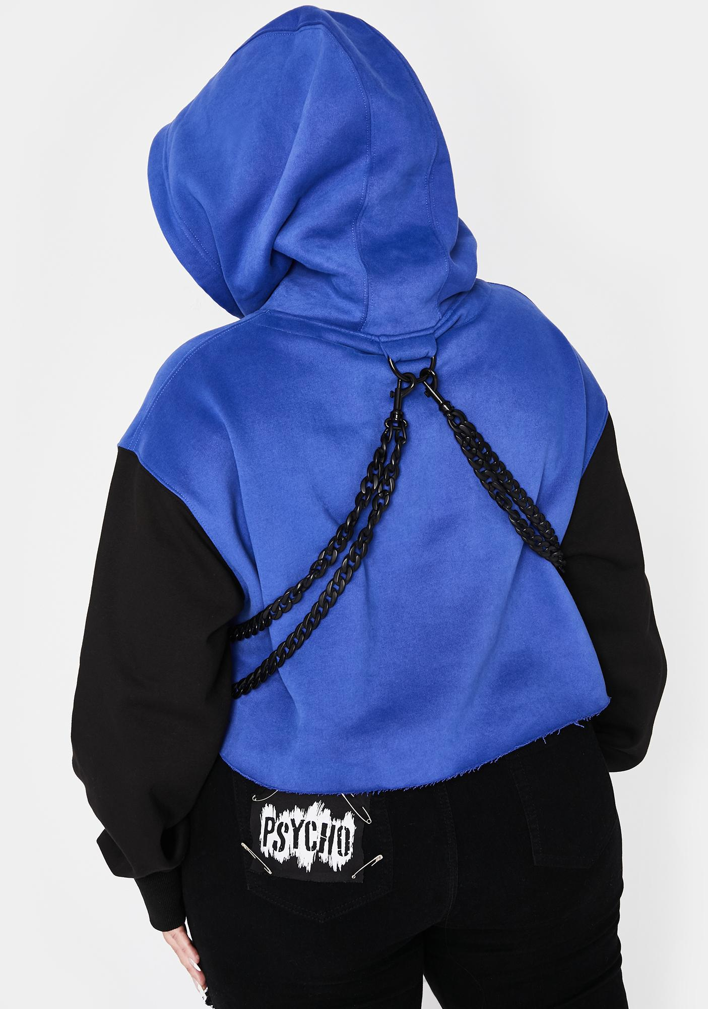 Current Mood Royal So Chained N' Dangerous Crop Hoodie