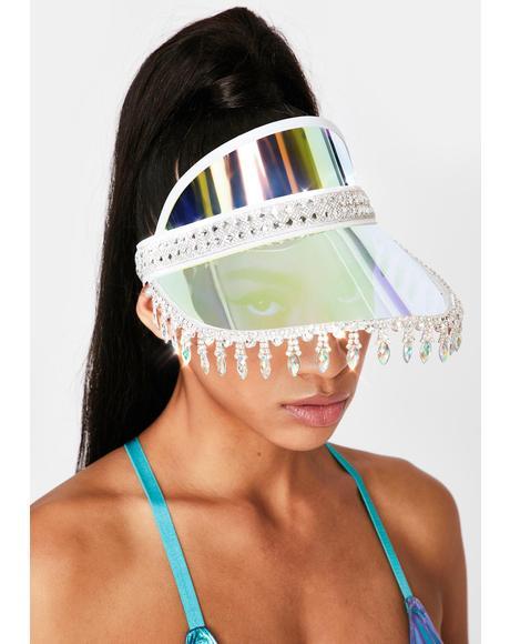 Blue Holographic Advize Me Visor Hat