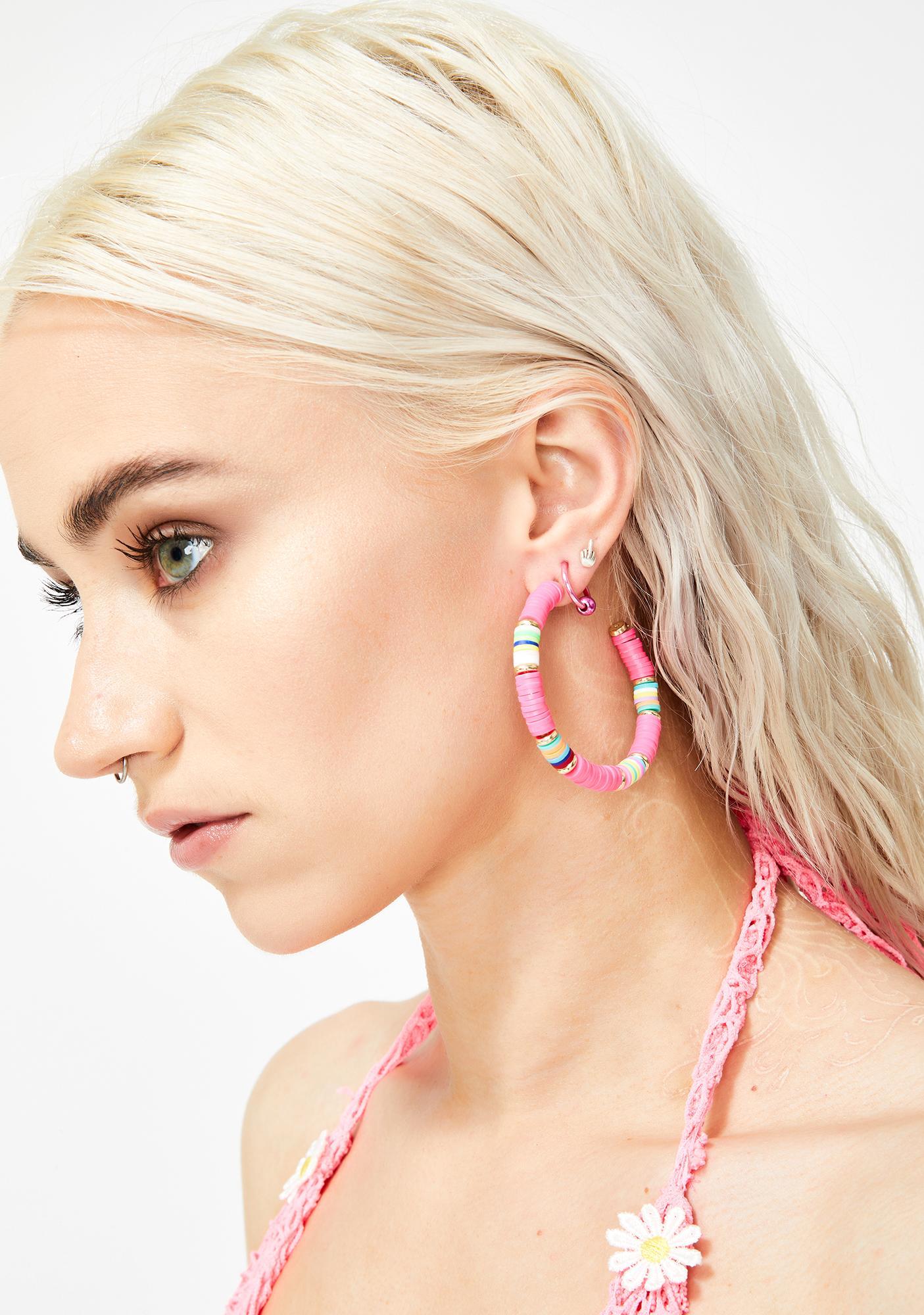 Raspberry Tropical Breeze Hoop Earrings