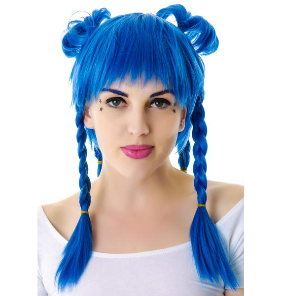 Lip Service Devil in a Blue Cosplay Wig