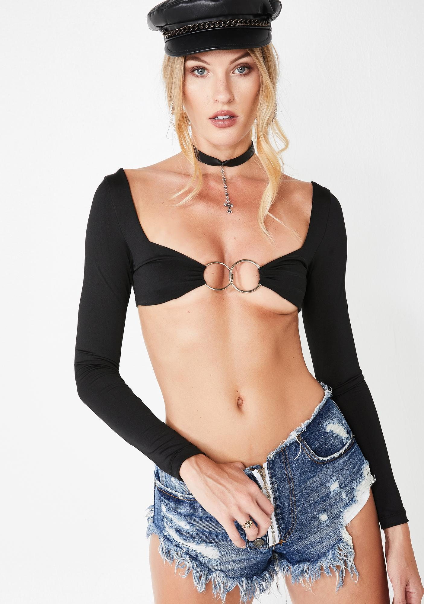 Plugged NYC Hunnie Long Sleeve Crop Top