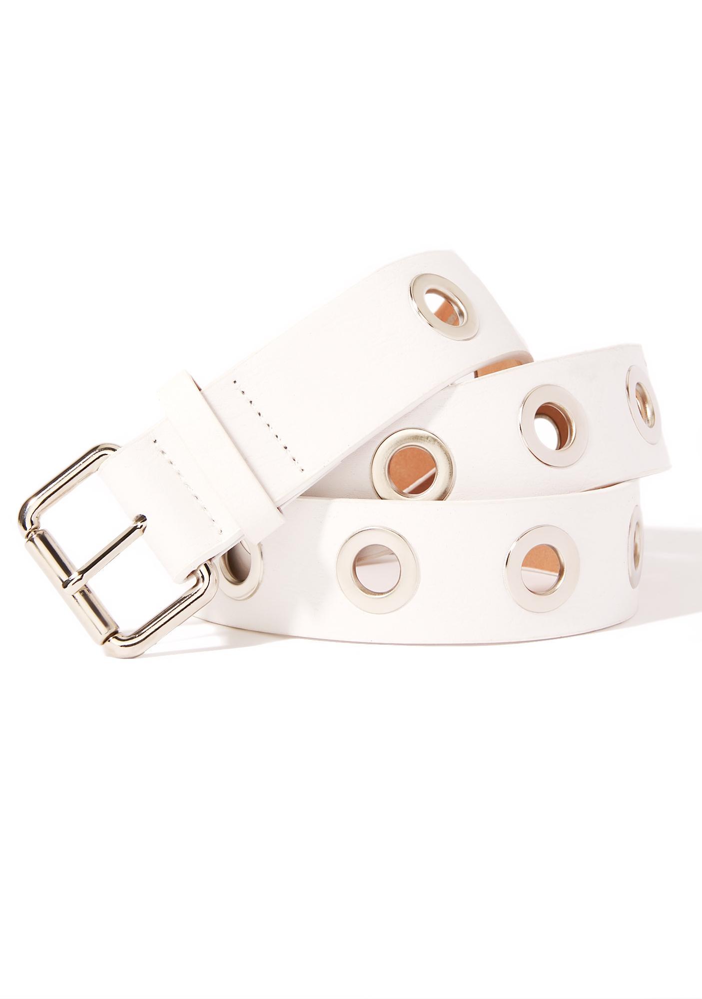 Overtime White Eyelet Belt