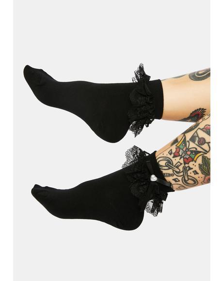 Coal Cutie Affair Ruffle Crew Socks